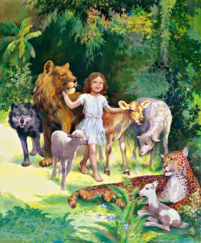Kingdom of God young girl surrounded by various animals